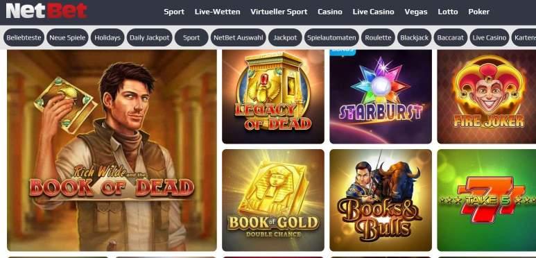 Ein Screenshot vom Netbet Casino